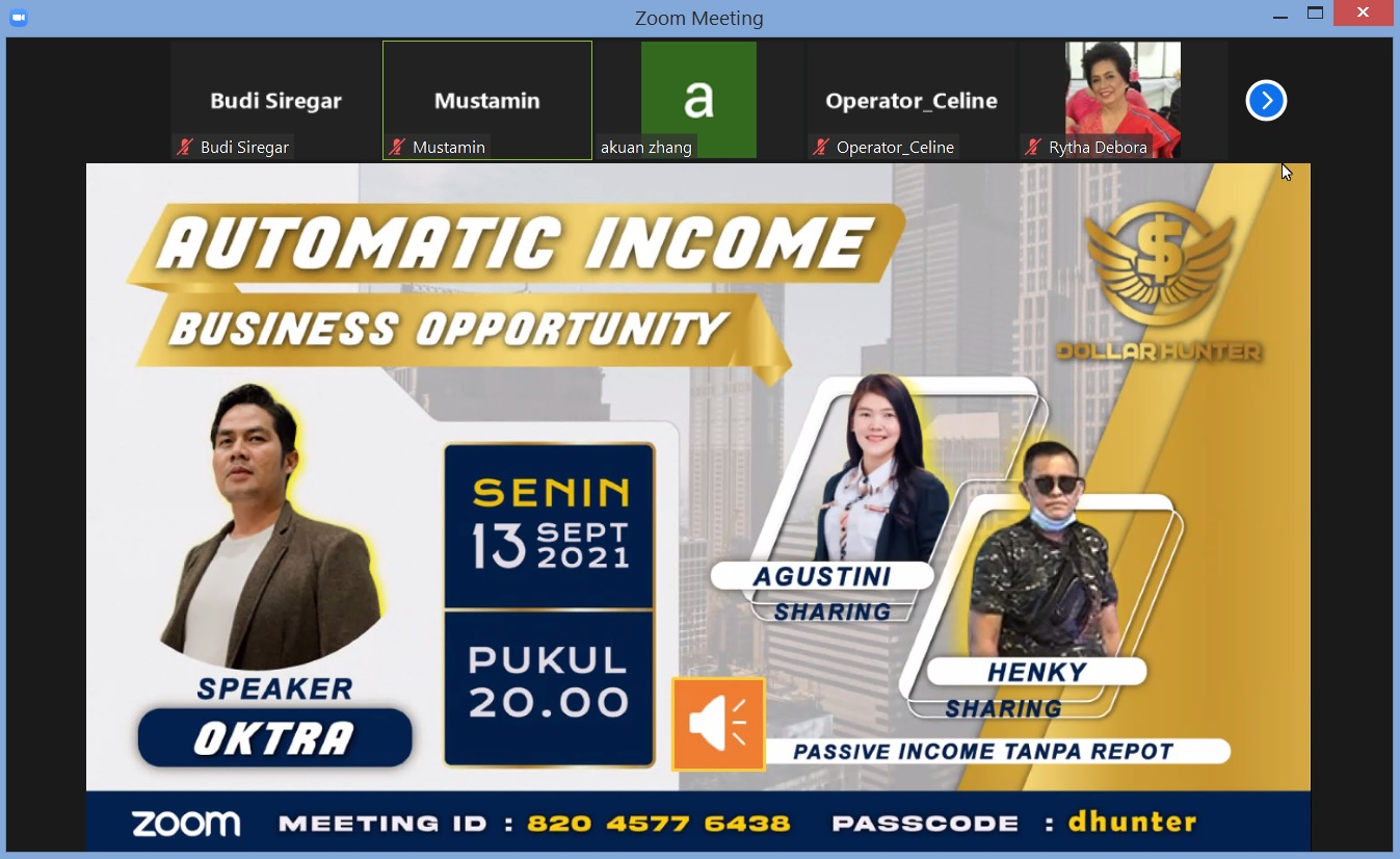 You are currently viewing ZOOM Automatic Income Business Opprtunity NET89 Support System Dollar Hunter – Passive Income Tanpa Repot serba OTOMATIS – SmartXBot Robot Pintar Trading